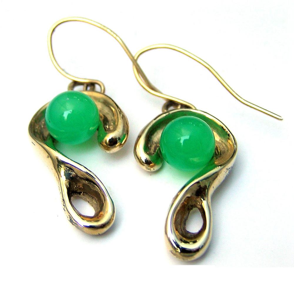 14ct Gold Amp Chrysoprase Earrings Gem Jewelry